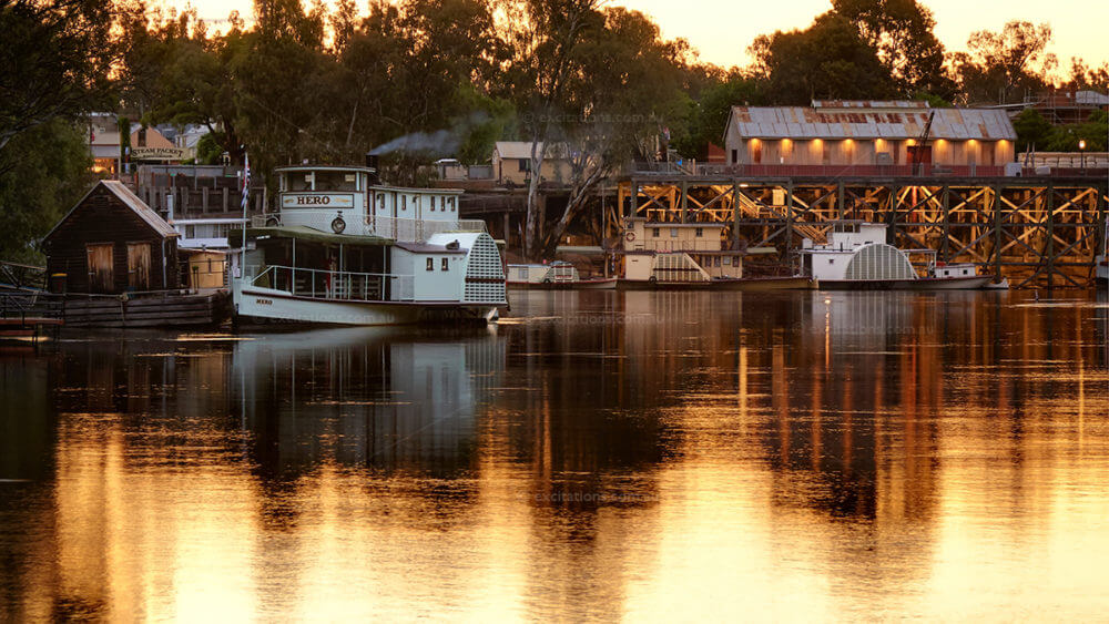 PS Hero moored at Echucal, twilight photo with last orange glow on water. Photo by Excitations photo workshops and photography adventures Australia.