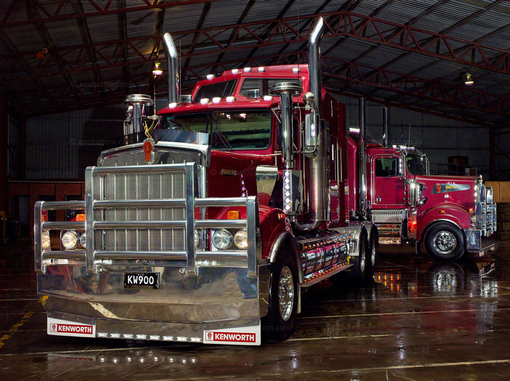 Kenworth trucks photographed in large shed. Commercial photography Mildura Australia by Excitations.