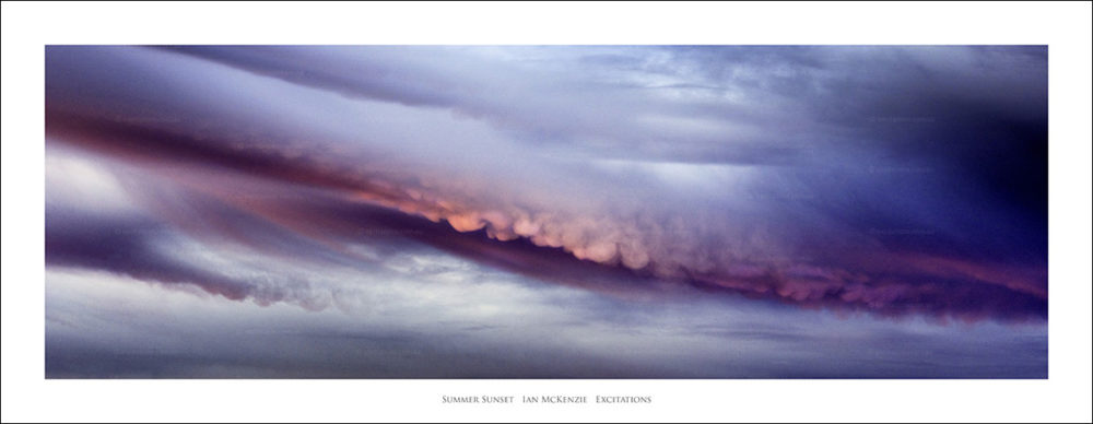 fine art photography. Panorama of last rays of pink light catching storm cloud at dusk. Sunset art print by Ian Mckenzie, Excitations, Mildura photographers.