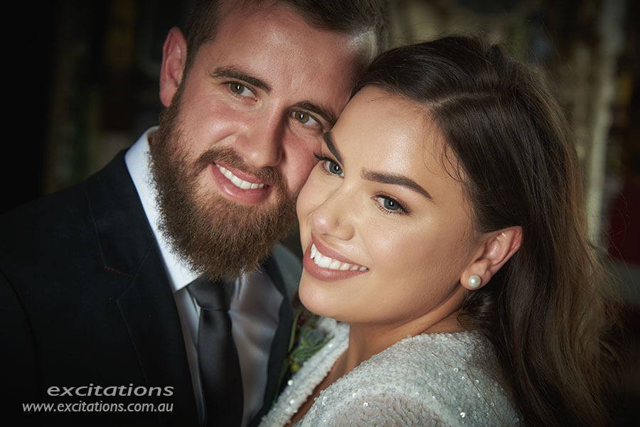 Closeup portrait of bride and groom on location using studio lighting.Excitations photographers, Mildura.